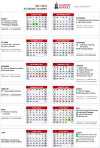 2017-18 Academic Calendar - Yearly Planner