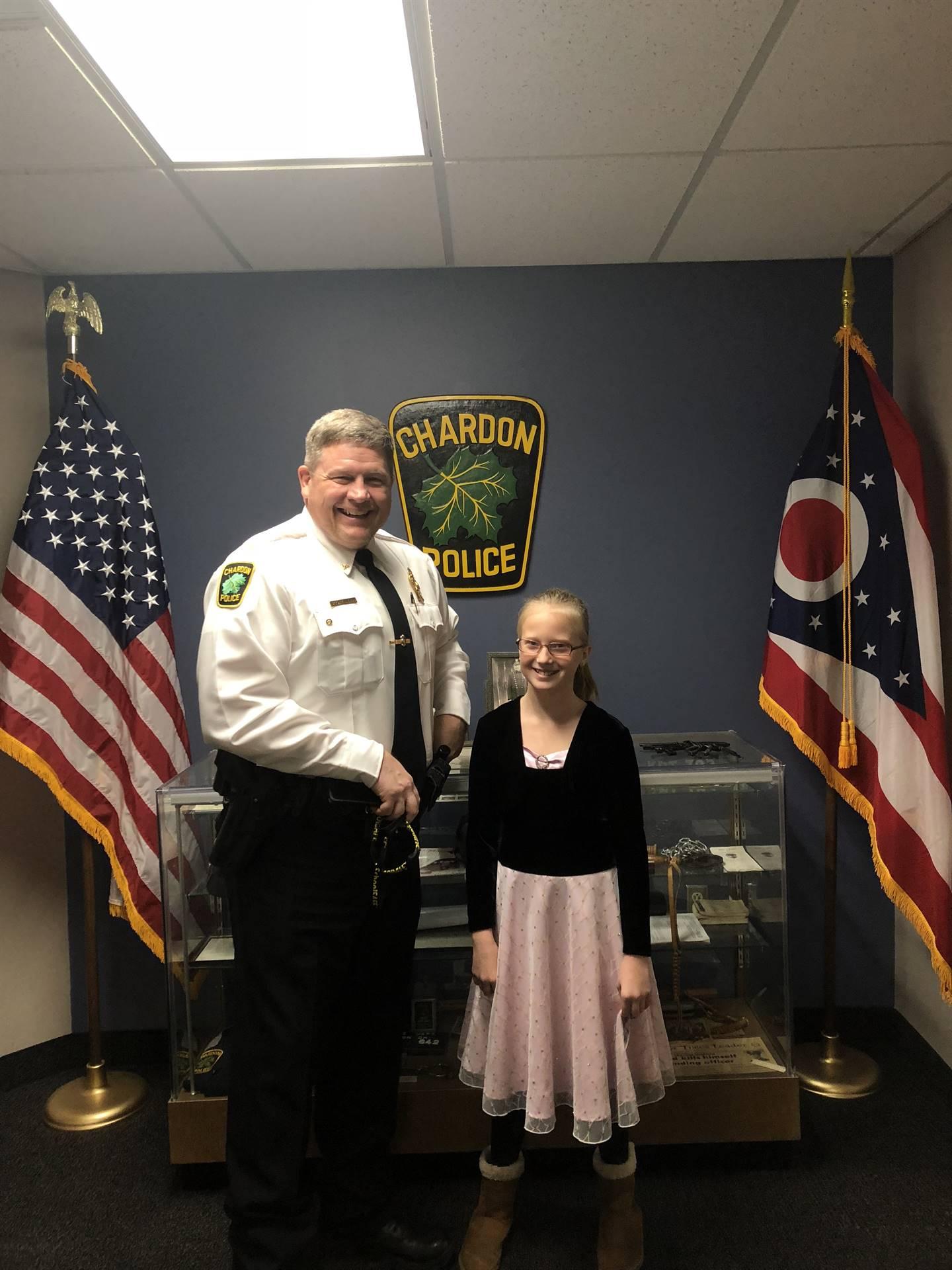 Mackenzie meeting the Chardon Chief of Police
