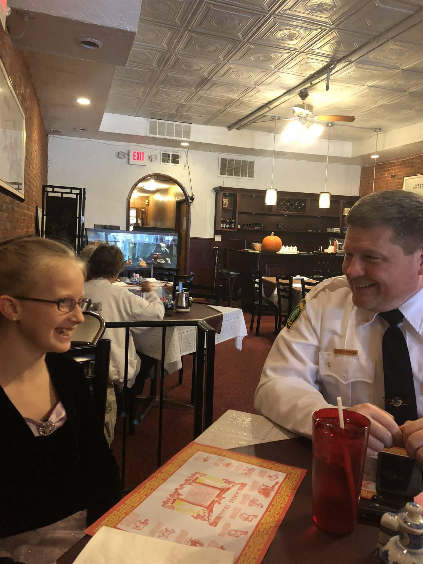 Mackenzie having lunch with Chief Niehus