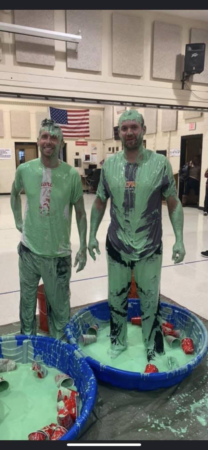 Slime Incentive for Students - Mr. Prezioso and Mr. Hazen are great sports! - Fall 2019