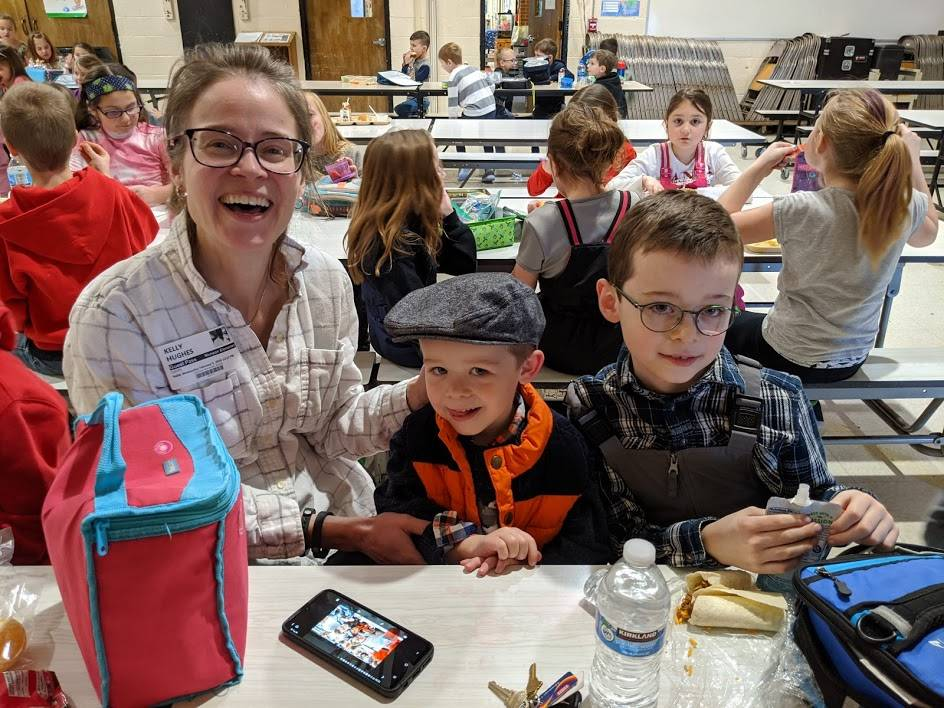 Mom (Mrs. Hughes) and her son George visit sibling Alex at lunchtime - Feb. 2020.