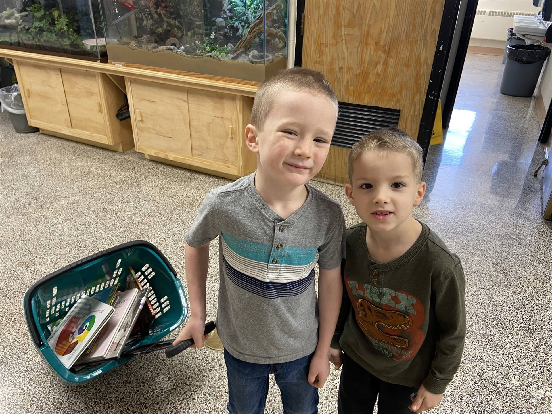 Library Helpers Returning Books to the Library - Jan. 2020