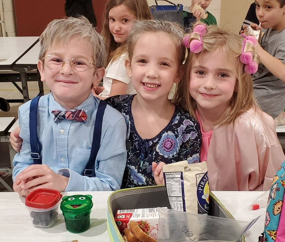 Students dressed as a 100-year olds on the 100th Day of School