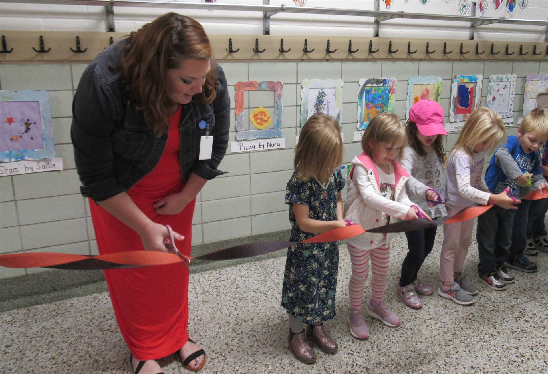 Tiny Toppers Ribbon Cutting Ceremony for Art Show with Ms. Kristen