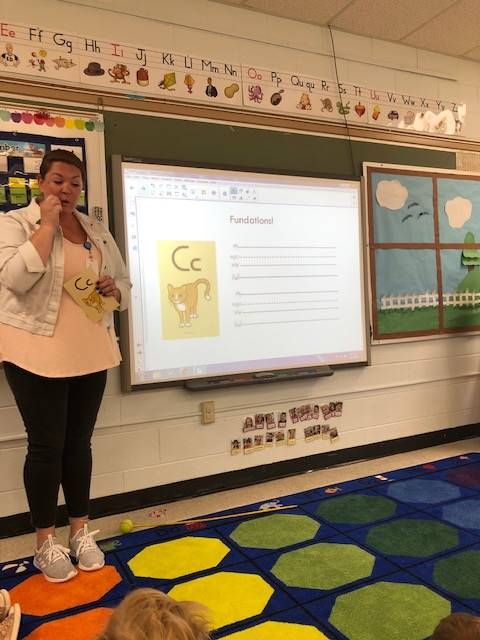 Miss Kristen teaching a Fundations Lesson